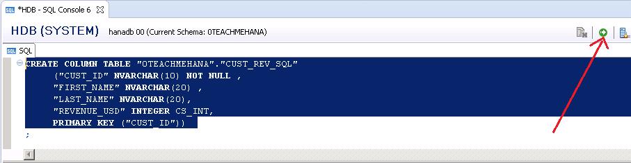 SAP HANA TABLE SQL SCRIPT TABLE
