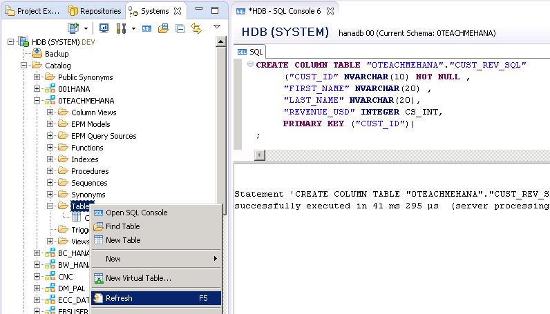 Create SAP HANA Table - SQL Script Method - SAP HANA Tutorial