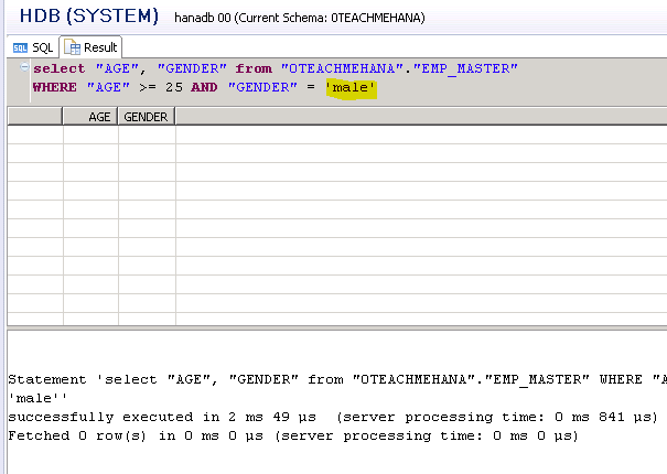 SAP HANA SQL SCRIPT SQL WHERE NOT LIKE CONDITION