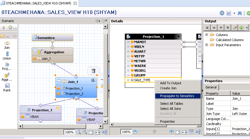 SAP HANA CALCULATED COLUMN CALCULATION VIEW GRAPHICAL VIEW