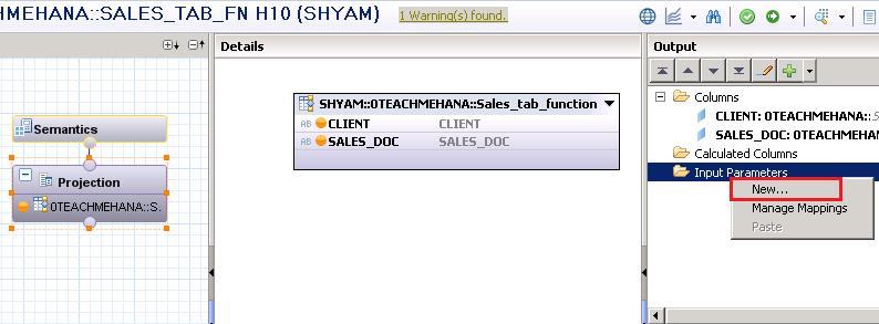 SAP HANA Table function