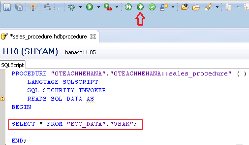SAP HANA Stored Procedure