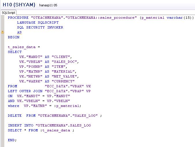 SAP HANA Stored Procedures
