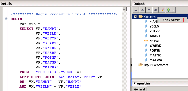 SAP HANA Scripted calculation view SQL Script