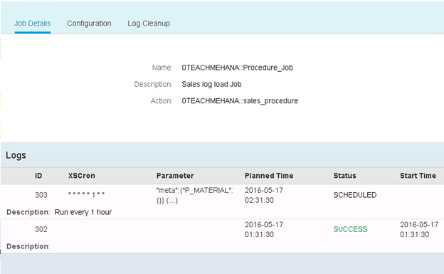 Schedule SAP HANA XS JOB